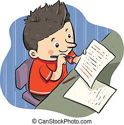 Doing Homework - A boy doing his homework. Vector EPS8 file.