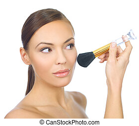 Doing Makeup - Portrait of beautiful woman doing makeup, on ...