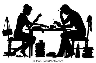 Doing paperwork silhouette - Editable vector silhouette of a...