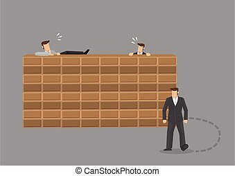 Doing Things the Hard Way Versus Taking Easy Route Cartoon Vector Illustration