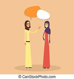 dois, árabe, mulher, muçulmano, conversa, bolha, discussão,...