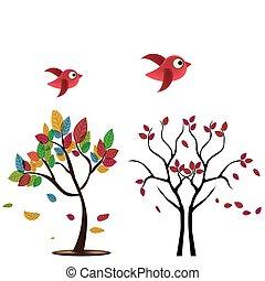 dois, árvores, com, pássaros