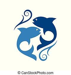 dois, ícone, abstratos, peixe, logotipo