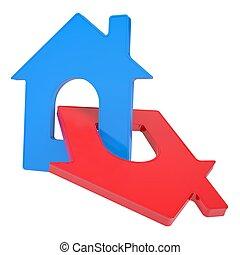 dois, ícone casa
