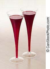 dois, óculos vinho vermelho, tabela