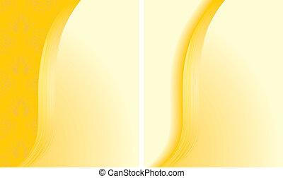 dois, abstratos, amarela, fundos