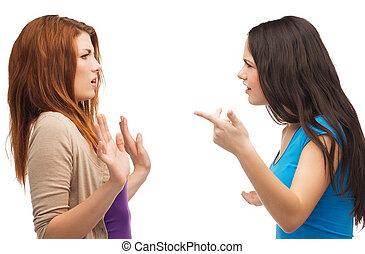 dois, adolescentes, tendo, um, luta