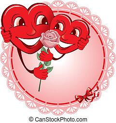 dois, amantes, coração