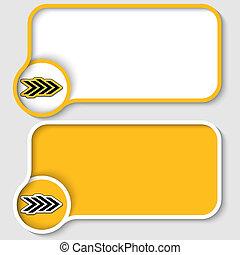dois, amarela, texto, quadro, e, abstratos, seta