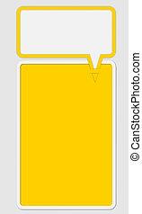 dois, amarela, texto, quadro