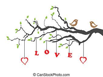 dois, ame pássaros, e, amor, árvore