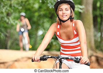dois, amigo, ciclismo, campo