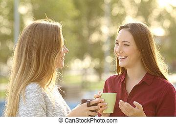 dois amigos, falando, ao ar livre