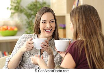 dois amigos, falando, e, bebendo, casa