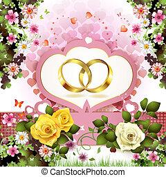dois, anéis casamento