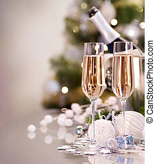 dois, ano, novo, champanhe, celebration., óculos