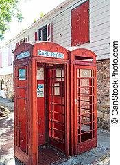 dois, antigas, telefone vermelho, bancas