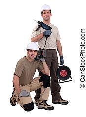 dois, artesãos, trabalhando, com, brocas