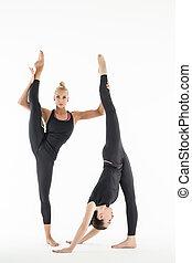 dois, artisticos, ginasta, fazendo, emparelhado, exercícios