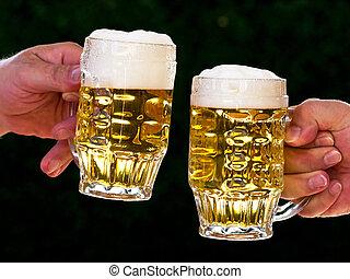 dois, assalta, de, cerveja, com, nós, cerveja, espuma