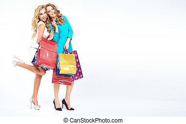dois, atraente, meninas, ligado, a, shopping