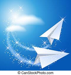 dois, avião papel
