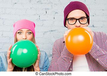 dois, balões, cima, inflar, foto, celebração, amantes, fim