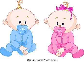 dois, bebês