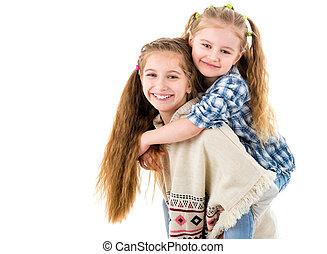 dois, bonito, pequeno, irmãs, tendo divertimento, junto
