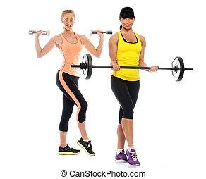 dois, bonito, sporty, meninas, fazendo, condicão física, exercícios