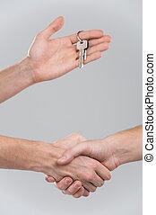 dois, businessperson, apertar mão, ligado, cinzento,...