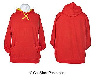 dois, camisas, em branco, enrugado, lado, vermelho