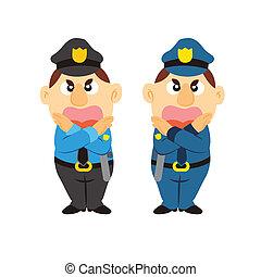 dois, caricatura, cores, engraçado, policial