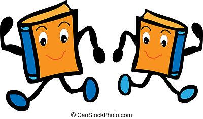 dois, caricatura, livros