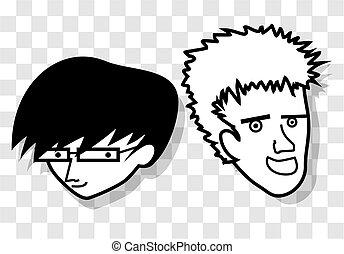 dois, caricatura