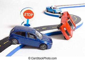 dois, carros, acidente, ligado, estrada