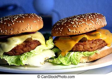 dois, cheeseburgers