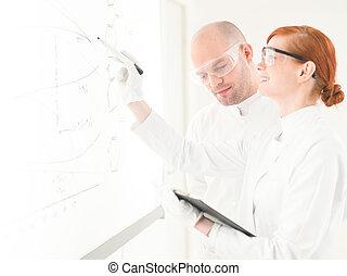dois, cientistas, tendo, um, discussão