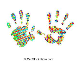 dois, coloridos, hand-prints