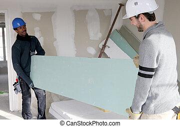 dois, construtores, carregar, plasterboard