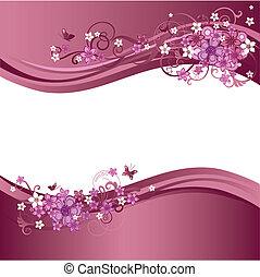 dois, cor-de-rosa, floral, fronteiras