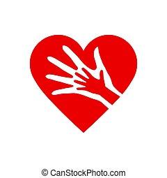 dois, coração, mãos