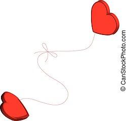 dois corações, amarrada, junto.