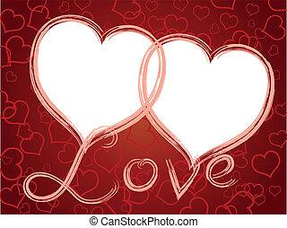 dois corações, amor, quadro, padrão