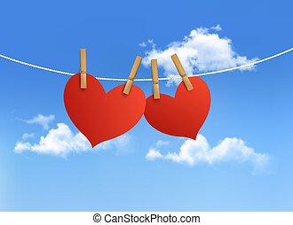 dois corações, pendurar, um, corda, frente, um, sky., dia valentine, vector.