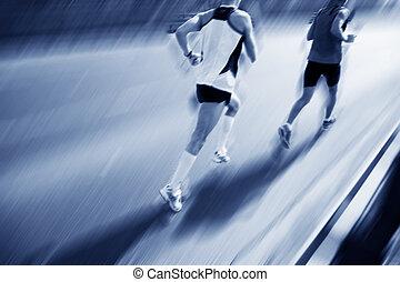 dois, corredores, em movimento, fast.