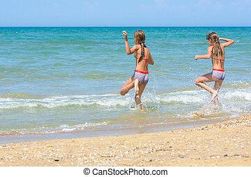 dois, corrida, ensolarado, irmãs, quentes, mar, dia