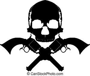 dois, cranio, revólveres