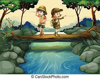 dois, crianças, cruzamento, a, rio