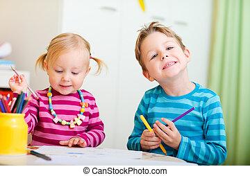 dois, crianças, desenho, com, coloração, lápis